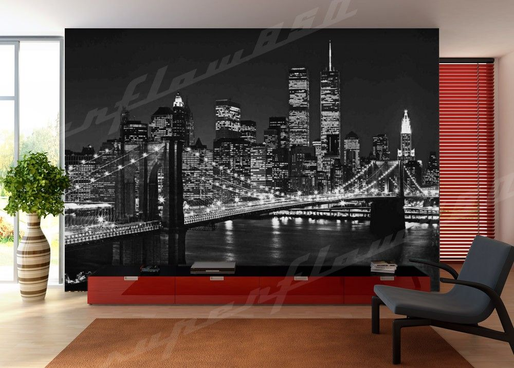 Brooklyn bridge wall mural photo wallpaper ebay for Brooklyn bridge wallpaper mural